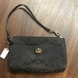 Coach Cloth Wristlet with Patent Strap - Like New